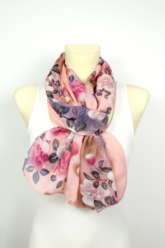 Pink Floral Scarf - Unique Boho Scarf - Floral Printed Scarf - Soft Fabric Scarf - Gift Idea for her - Women Fashion Accessories - Autumn