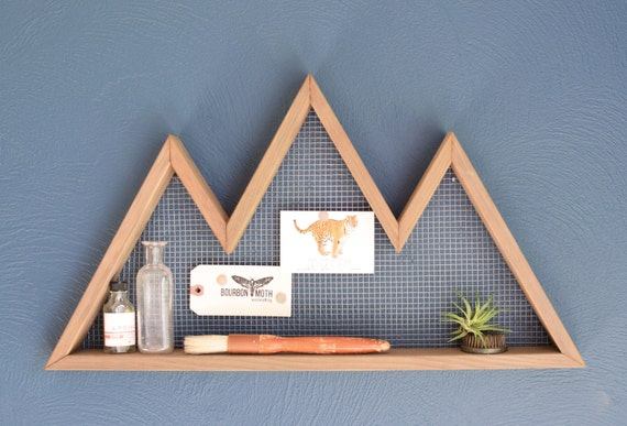 Mountain wall art shelf mountain home decor wall hanging for Diy mountain mural