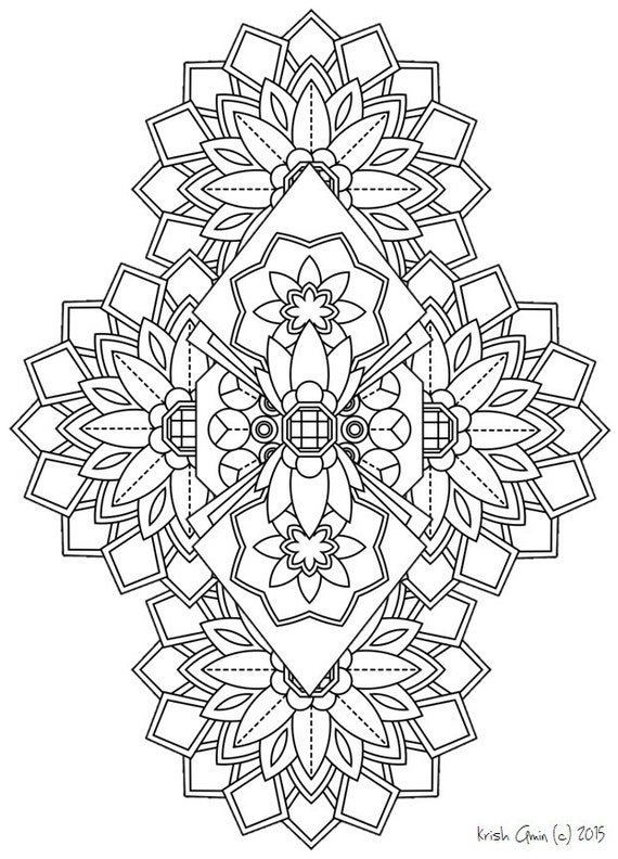 Printable Intricate Mandala Coloring Pages By KrishTheBrand
