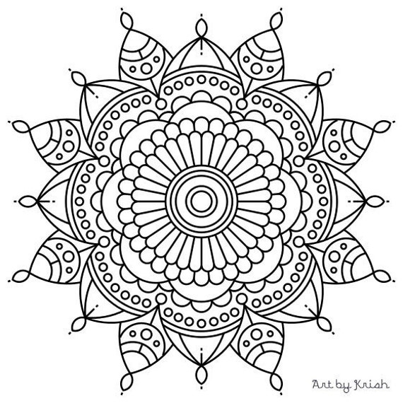 items similar to mandala adult coloring page 56 on etsy. Black Bedroom Furniture Sets. Home Design Ideas