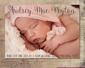 Printable Baby Girl Birth Announcement card / Customisable Digital File / JPG or PDF