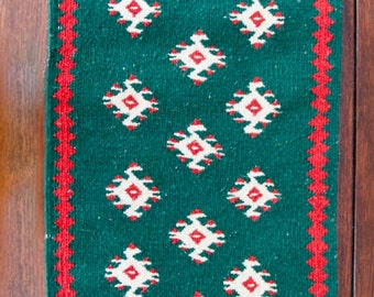 Southwestern Wool Hand Woven Table Runner/Wall Hanging: Christmas Colors