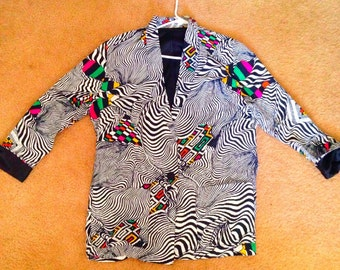 Vintage Zebra Print Colored Blazer Size Large