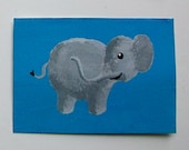 "The Blue Elephant #58 (ARTIST TRADING CARDS) 2.5"" x 3.5"" by Mike Kraus Free Shipping"