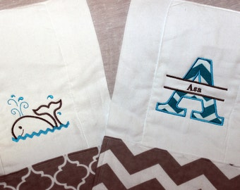 Set of 2 Burp Cloths - Whale and Customized Name