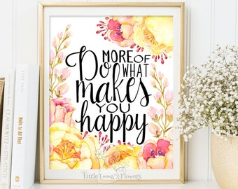 Typographic Print Makes you happy print Wall Decor Typography Poster digital typography nursery wall art decor kids wall decor 3-29