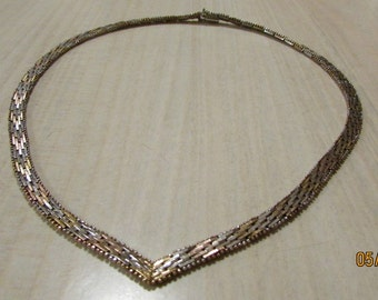 """Sterling Silver Tri Color Necklace Made in Italy  16"""""""