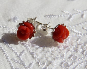 Red coral earrings Corsica 1st choice certified