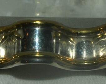 Sterling Silver Ribbon Brooch Pin Mixed Metals