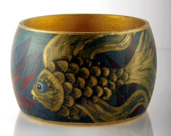 Gold Fish hand painted bracelet