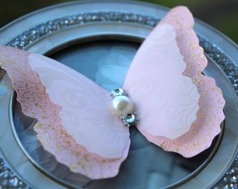 10 Pink Layered Butterflies Wedding Table Decoration / Bridal Shower/Party Decoration/Wall decor