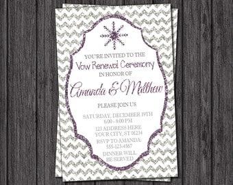 winter vow renewal invitation snowflake wedding vow renewal invitations - Wedding Renewal Invitations