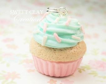 Shabby Chic Cupcake Charm Necklace Miniature Food Jewelry Polymer Clay Charm Pendant Handmade