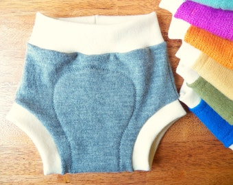 Custom Wool Diaper Cover - Upcycled Wool Soaker - LARGE (10 - 24 Months) - Hybrid Upcycled and Organic Merino Wool Interlock Diaper Cover