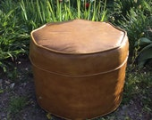 RESERVED for Steven, Nice Vintage Vinyl Ottoman, Brown, Foot Stool, Footstool, Hassock, Round Vinyl Ottoman