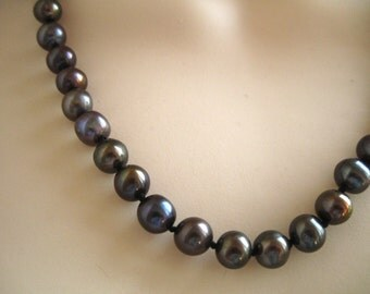 Black Freshwater Pearl Necklace - 87