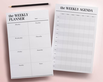 2 Printable Weekly Planner Pages, Half-Size 8.5 x 5.5 Planner Printables, Weekly Agenda, Daily Schedule, To Do List Digital INSTANT DOWNLOAD