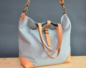 Light grey/blue canvas tote bag. Canvas and leather bag. Blue canvas shoulder bag. Canvas bag.