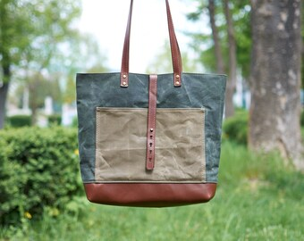 Green & brown waxed canvas tote bag. Canvas and leather bag.  Green canvas tote bag. Waxed canvas bag.