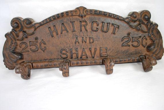 enseigne et crochets fer forg de barbier ancienne plaque de. Black Bedroom Furniture Sets. Home Design Ideas