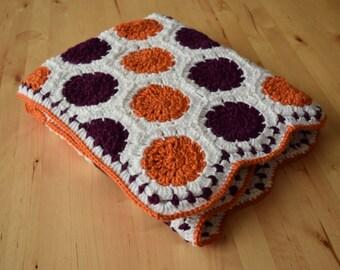Purple and orange polka dot blanket, made to order clemson baby blanket, baby shower gift, machine washable crochet blanket, clemson tigers