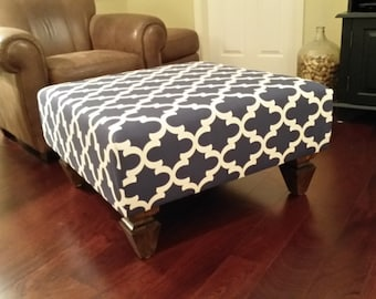 Upholstered Ottoman Coffee Table - Navy and White