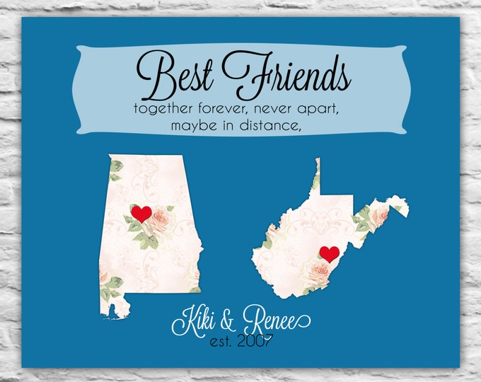 Best Friend Gift, Birthday, Just Because, Long Distance Friendship Map Print, Going Away, Far Away Friend Present Custom Personalized