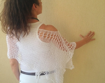 Summer poncho , knit summer poncho , knitted summer wrap , White summer poncho, white shrug shawl capelet , eco friendly poncho , boho wear