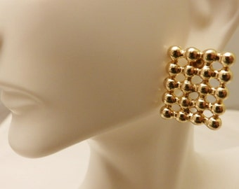 Large Gold Tone Square Post Style Earrings