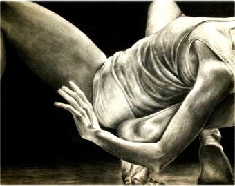 Original 18x24 Pencil Drawing of Dancers - Framed