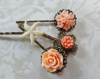 Peach flowers And Ivory Starfish Hair Clips