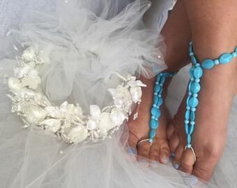 Barefoot Wedding Sandals, Barefoot Sandals, Turquoise