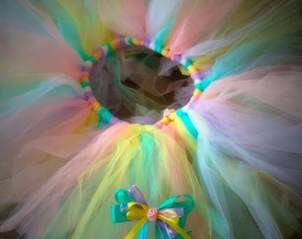 Multicolor tutu and hairbow