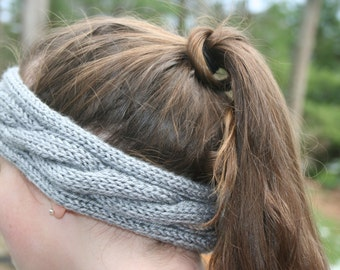 Grey Hand Knit Headband/Ear Warmer/Ear Muff