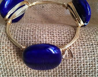 Wire Wrapped Bracelet - Royal Blue