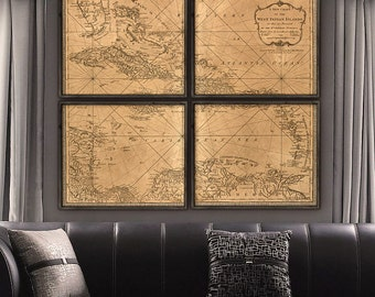 """Map of West Indies 1778, Historical map of Caribbean Islands, 5 sizes up to 60x48"""" (150x120 cm) in 1 or 4 parts - Limited Edition of 100"""