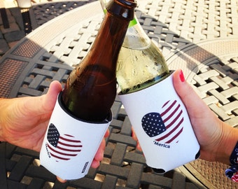 American Flag KOOZIE ® // patriotic // gifts for him // gifts for her // JULY 4 // fourth of july // party favor // drink cozy