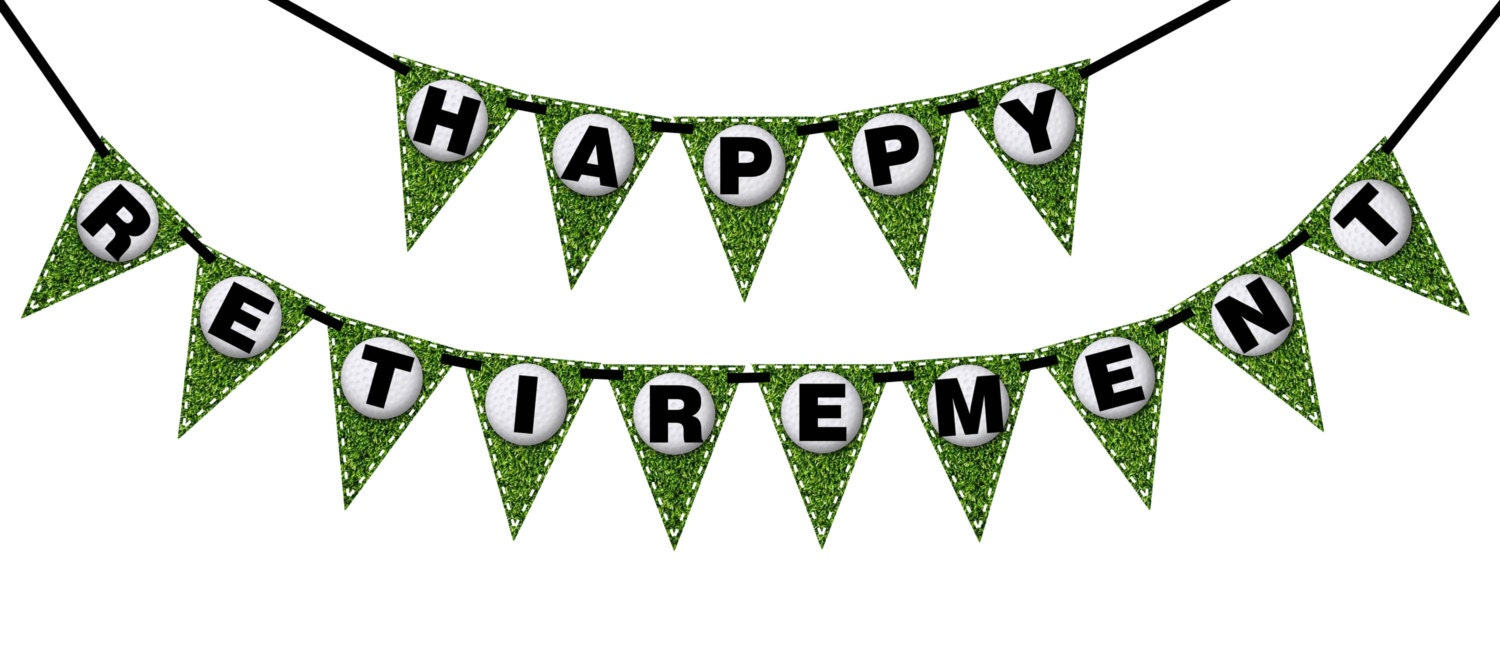 HAPPY RETIREMENT Golf Printable Party Banner and Decoration