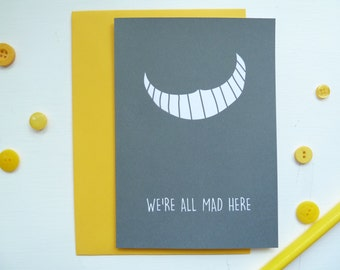 Alice in Wonderland Card, Alice in Wonderland, We're all Mad Here, Movie card