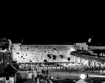 The Western Wall Jerusalem Israel Black And White