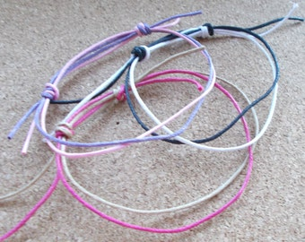 Cord Slider Anklet Double Strand Surfer Beach Swimming Waxed Sliding Knotted Rope