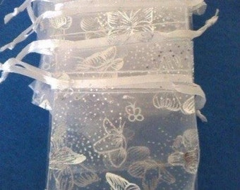 Pack Of 10 Organza Bags With Silver Butterfly Design