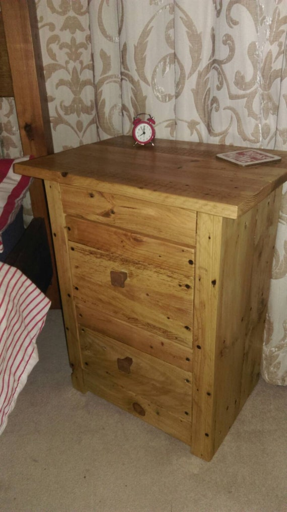 Rustic Wood Bedside Table: Items Similar To Rustic Wooden Bedside Table Nightstand