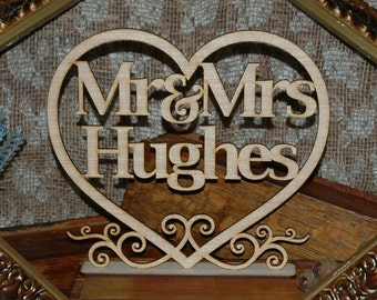 Mr & Mrs Wedding Table Sign with surname, customised,Wedding Decor, Personailsed last name, wooden, rustic