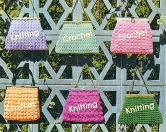 8 KNITTING & CROCHET HANDBAG Patterns Lot Vintage 60s Crochet Bag Pattern Crochet Purse Pattern