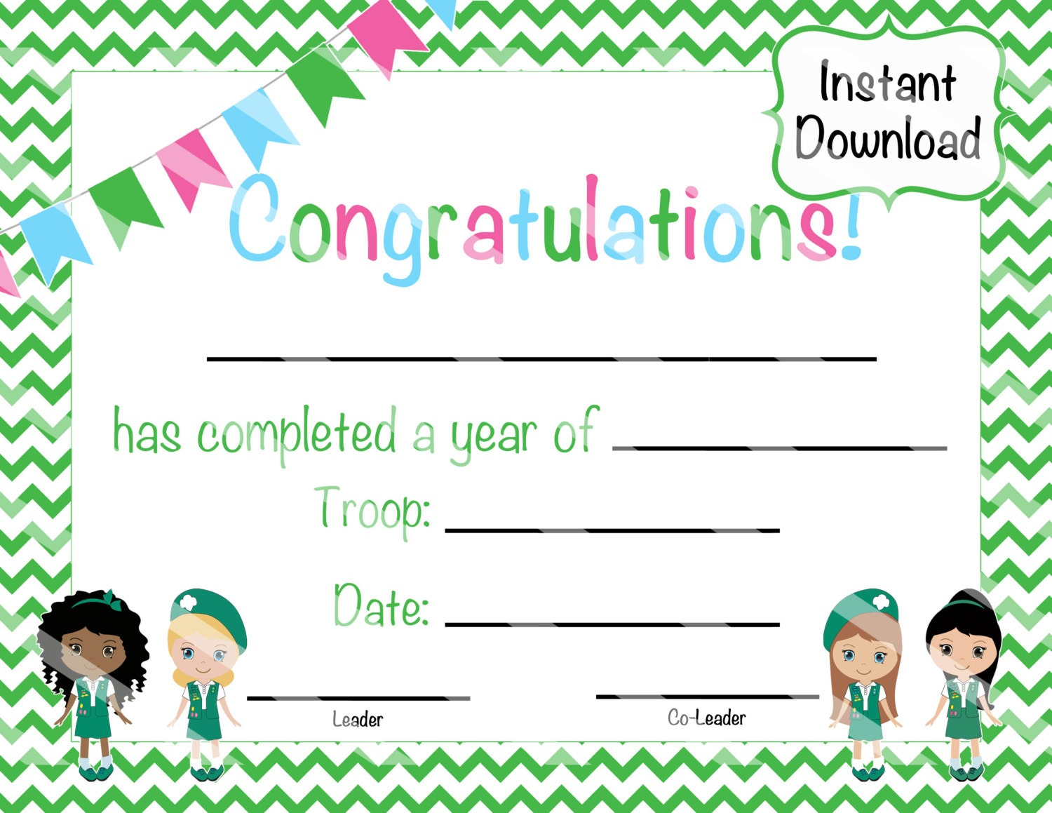 This is a photo of Candid Girl Scouts Certificates