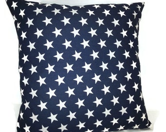 Navy blue and white star pillow cover, decorative throw pillow, Americana pillow cover, Navy pillow , star pillow cover, accent pillow,