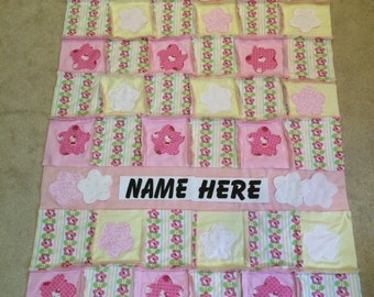 Baby Girl Raggy Blanket ~ Hello Kitty~ Spring Flowers, Shower Gift, Soft & Warm 2 layers  ~ FREE Personalization One of a kind