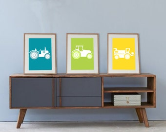 3 posters colorful on farm with tractors, wall art, baby room art, boy nursery, playroom, farm room art, boy room decor