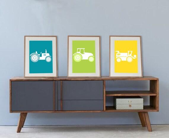 3 affiches tracteurs à la ferme pour chambre enfant